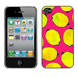 For iPhone 4 / 4S - Yellow Lemons Painting /Modelo de la piel protectora de la cubierta del caso/ - Super Marley Shop -