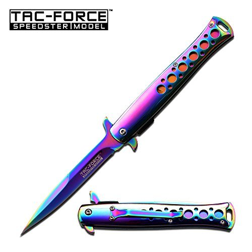 "TAC-FORCE SPRING ASSISTED KNIFE 5"" CLOSED (RAINBOW)"