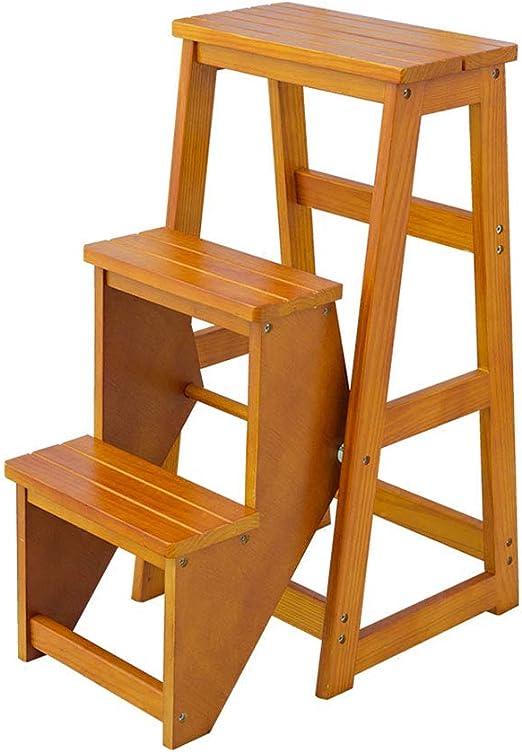 PENGJIE Taburete Escalera Plegable de Madera de 3 Pasos Silla Estantería Taburete Multifunción Portátil Adultos/Niños para Biblioteca Cocina Oficina Escabel: Amazon.es: Hogar