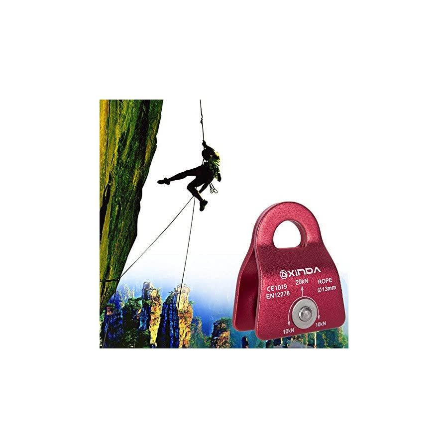 20KN Aluminum Climbing Pulley Double Pulley with Swing Plates for Rescue Rope Climbing, Aloft Work, Setting A Tackle and Block in Your House (Style 02, Red)