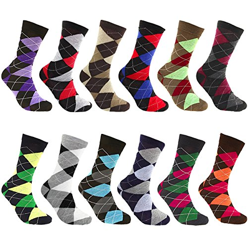 Falari Men Cotton Dress Socks (12-Pack Assorted Argyle) 904