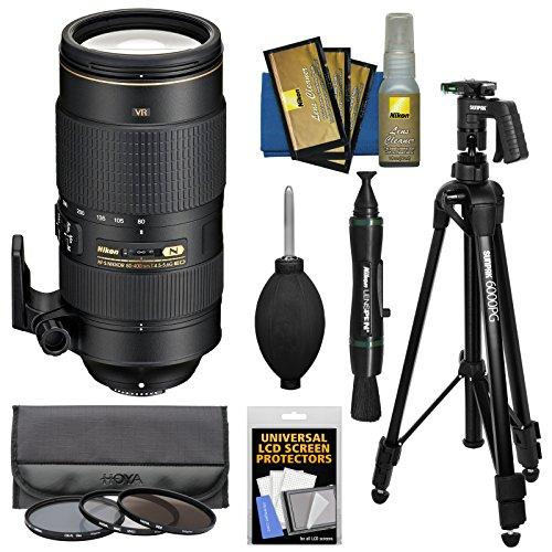 - Nikon 80-400mm f/4.5-5.6G VR AF-S ED Nikkor-Zoom Lens with 3 Hoya UV/CPL/ND8 Filters + Pistol Grip Tripod + Kit for Digital SLR Cameras