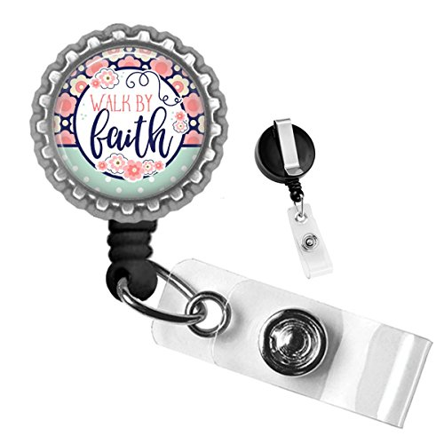 Religious Walk by Faith Floral Silver Retractable ID Tag Badge Reel by Geek Badges