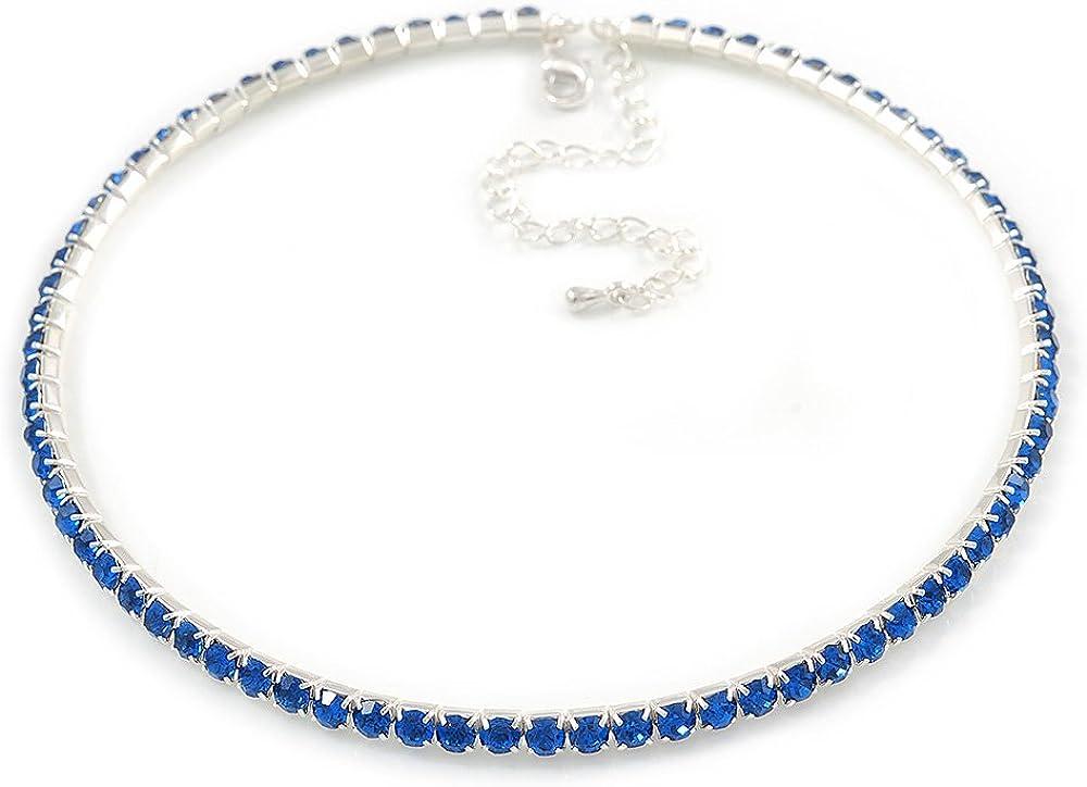 Collar gargantilla fina de cristales austriacos color azul zafiro de grado superior chapado en rodio, de 36 cm y extensión de 9 cm