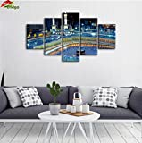 Yatsen Bridge Mosque Painting On Canvas Art Wall Framed 5 Pieces Modern Islamic Muslim Poster Wall Picture Printed For Living Room Home Decoraive Strethed Gallery-wrapped Ready to Hang 60''W x 32''H