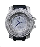 (US) Hip Hop Silver Iced Out Mens Rubber Watch - 7973 Rubber Silver