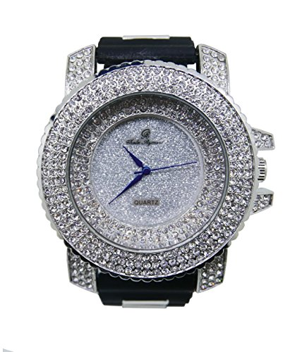 Hip Hop Silver Iced Out Mens Rubber Watch - 7973 Rubber Silver