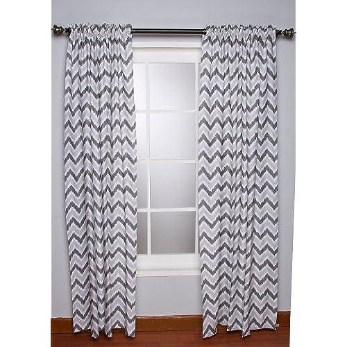Ikat Zigzag Grey Curtain Panel