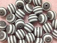 10pc 20mm Grey & White Striped Gumball Chunky Bubblegum Beads Bracelet Earrin...