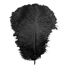 Ostrich Feathers - SODIAL(R)10 pcs Natural Pretty Ostrich Feathers 12-14 inch (30-35cm) for Wedding Centerpieces Home Decoration Party Stage Accessories black
