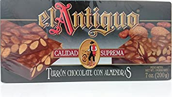 El Antiguo Calidad Suprema Turron Chocolate Con Almendras - Chocolate Almond Nougat by El Antiguo