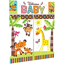 "Adorable Fisher Price Baby Shower Party Jungle Animals Scene Setter Wall Decorating Kit, Vinyl, 32"" x 59"", Pack of 5"