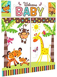 High Quality Adorable Fisher Price Baby Shower Party Jungle Animals Scene Setter Wall  Decorating Kit, Vinyl,