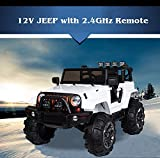 BIG TOYS DIRECT Kids 12V Electric Ride On Jeep Truck with RC / Remote Control, White