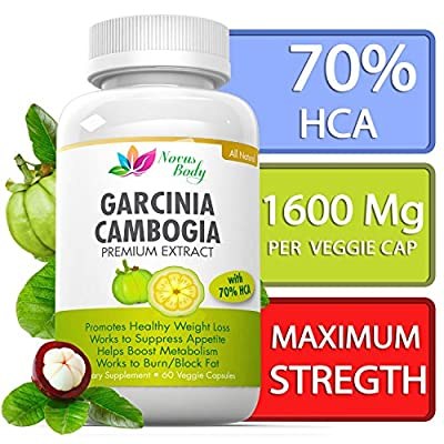Novus Body Premium Garcinia Cambogia Extract, Strongest Formula Available 1600 MG with 70% HCA All Natural, Weight Loss Supplement, 1 Bottle 60 veggie Capsule, Fat Burner, Made in USA, GC-1001, Satisfaction Guaranteed