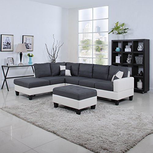 Classic Two Tone Large Linen Fabric and Bonded Leather Living Room Sectional Sofa (White / Dark Grey) (White Sofa Sectional Furniture)