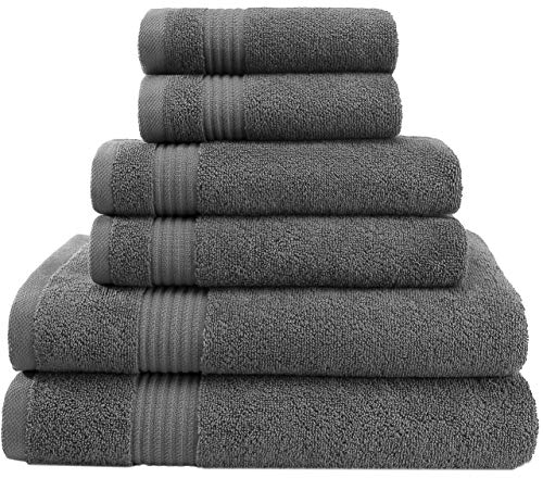 Super Absorbent and Soft Hotel & Spa Quality, Cotton, 6 Piece Turkish Towel Set for Kitchen and Decorative Bathroom Sets Includes 2 Bath Towels 2 Hand Towels 2 Washcloths, Charcoal Grey (Best Quality Bath Towels 2019)