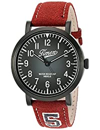 Timex 'Originals University' Quartz Brass and Leather Casual Watch, Color:Red (Model: TW2P83200ZA)