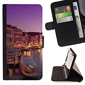 For Samsung Galaxy S3 III i9300 i747 Case , River Boat City Night Europa Italia- la tarjeta de Crédito Slots PU Funda de cuero Monedero caso cubierta de piel
