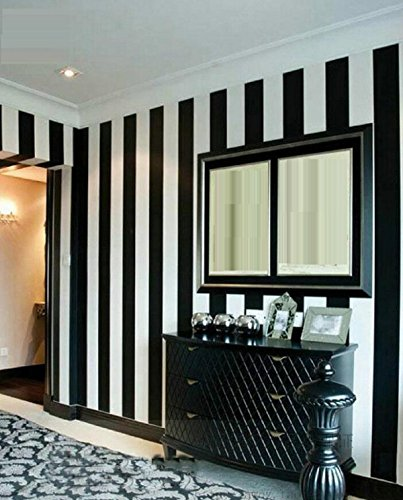 GAOJIAN Black White Vertical Striped Wall Stickers Modern Bedroom Living Room Tv Wall Pvc Wallpaper Width 0.53Cm Long 10M , a (Red Striped Wallpaper)