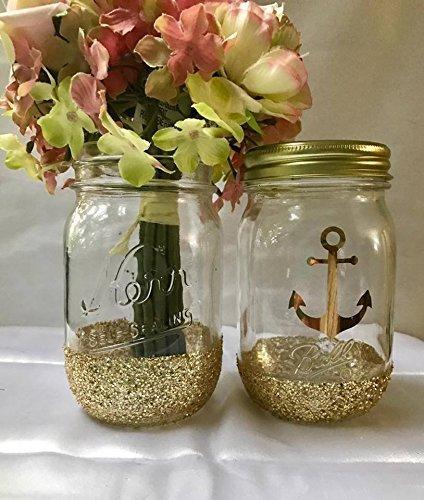 Set Of 2 Gold Glitter Mason Jars Centerpieces Rustic Wedding Decorations Nautical Theme Baby