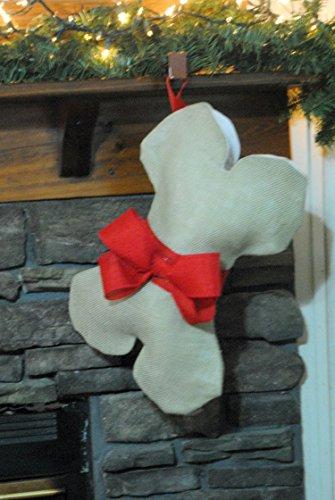 Burlap Dog Bone Christmas Holiday Stocking With Red Bow & Name Tag