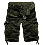 Domple Mens Basic Sports Workout Camo Print Multi Pockets Straight Cargo Shorts Army Green 38