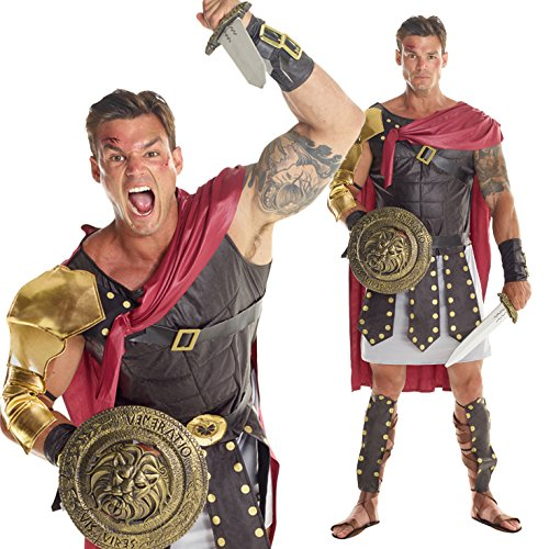 [Mens Brown Roman Gladiator Soldier Costume - 7 Piece Costume] (Costume Land)