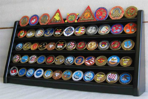 Row Coin Display (5 Rows Sport Military Challenge Coin Display Stand Holder Rack, Black, COIN5-BLA)