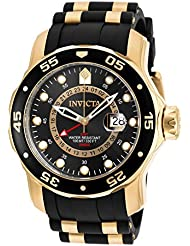 Invicta Mens 6991 Pro Diver Collection GMT 18k Gold-Plated Stainless Steel Watch with Black Band
