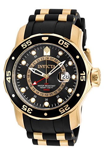 Invicta Men's 6991 Pro Diver Collection GMT 18k Gold-Plated Stainless Steel Watch with Black Band
