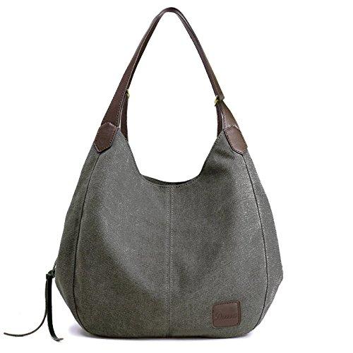 Women's Everyday Casual Shoulder Bags - Canvas Hobo Handbag Cotton Totes Purses Grey by Dzzzzc (Image #6)
