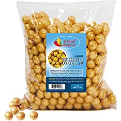 Gumballs in Bulk - Gold Gumballs for Candy Buffet - Mini Shimmer Gumballs 1/2 Inch - Bulk Candy 2 LB