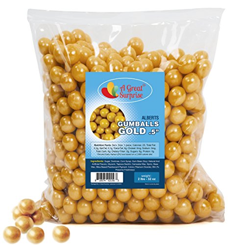 Gumballs in Bulk - Gold Gumballs for Candy Buffet - Mini Shimmer Gumballs 1/2 Inch - Bulk Candy 2 LB]()