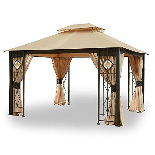 (Garden Winds LCM1145B Art Glass Gazebo Standard 350 Replacement Canopy, Beige )