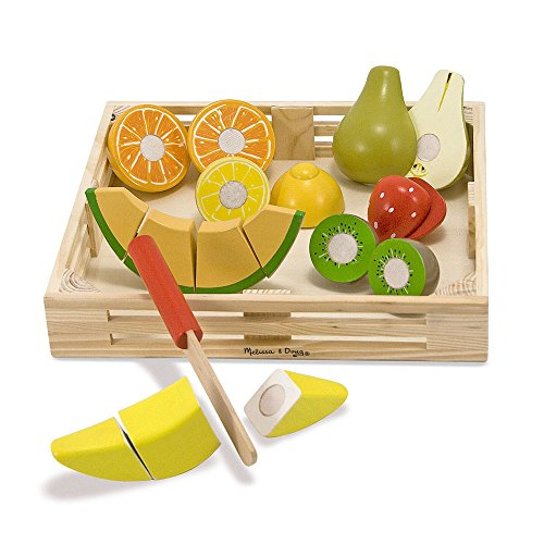 Cut Food - Melissa & Doug Cutting Fruit Set - Wooden Play Food Kitchen Accessory