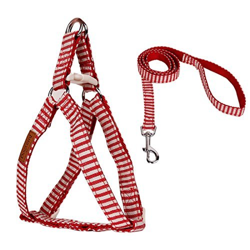 DealMux Adjustable No Pull No-Choke Stripe Dog Harness Leash Set Safe Control Puppy Collar for Large/Medium/Small Pet Walking Running Jogging Daily Training