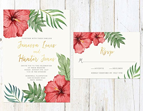 Tropical Wedding Invitation, Tropical Flowers Wedding Invitation, Destination Wedding Invite by Alexa Nelson Prints