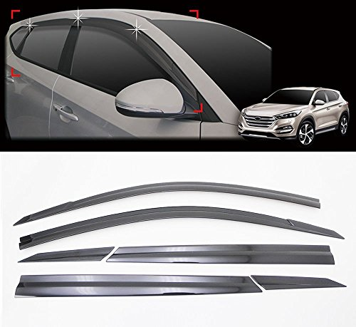 MotorFansClub 4pcs Window Visor Vent for Hyundai Elantra 2017-2019,Smoke Tint Trim Outside Mount Tape On//Clip On Style PVC Sun Rain Guard Door Visor