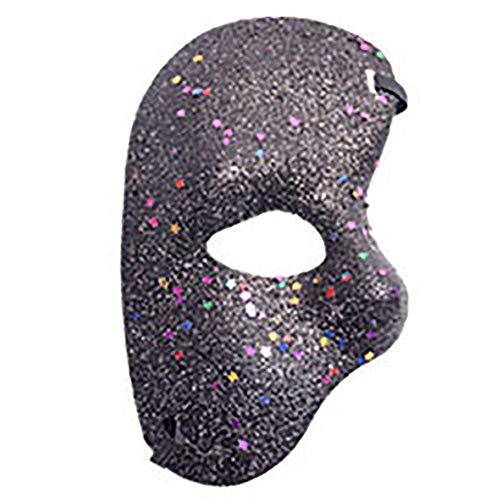 JINPAI Christmas Halloween Party Plastic Mask Opera Phantom Ball Gold Powder Half Face -