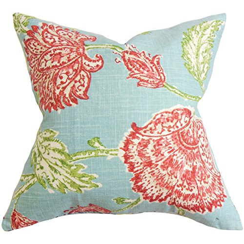 The Pillow Collection Behati Floral Pillow, Aqua Red (Aqua Red Pillows And)