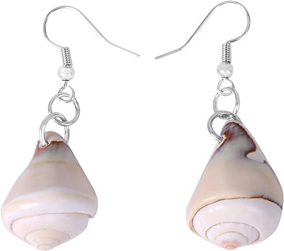NEW BOHO BEACH GOLD TONE SEA SHELL CONCH HOOP DANGLE DROP EARRINGS UK SELLER