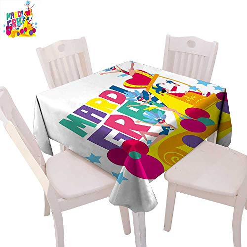 cobeDecor Mardi Gras Washable Tablecloth Festival Parade Theme Dancers in Costumes Colorful Dots Stars Abstract Design Waterproof Tablecloths 70