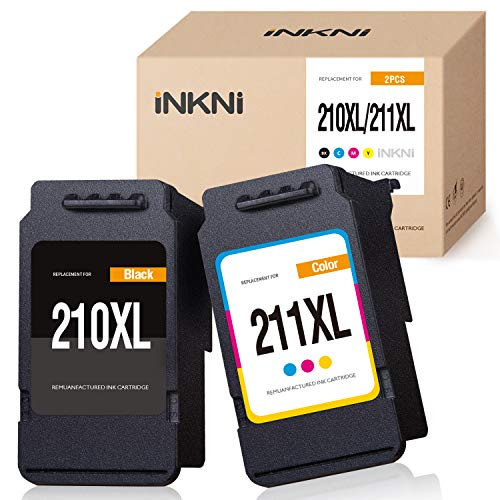 INKNI Remanufactured Ink Cartridge Replacement for Canon 210xl 211xl PG-210xl CL-211xl Ink Cartridges for Pixma IP2700 IP2702 MX330 MX340 MX350 MX360 MP230 MP250 MP270 MP280 Printer(Black, Tri-Color) (Mx330 Ink)