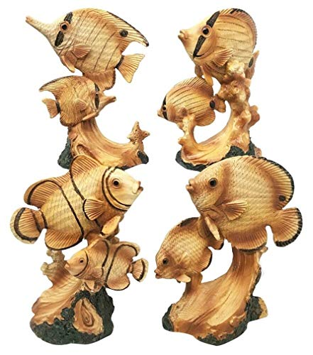 Ky & Co YK Marine Ocean Fishes Clown Fish Angelfish Blue Tang Butterfly Fish Figurine Set