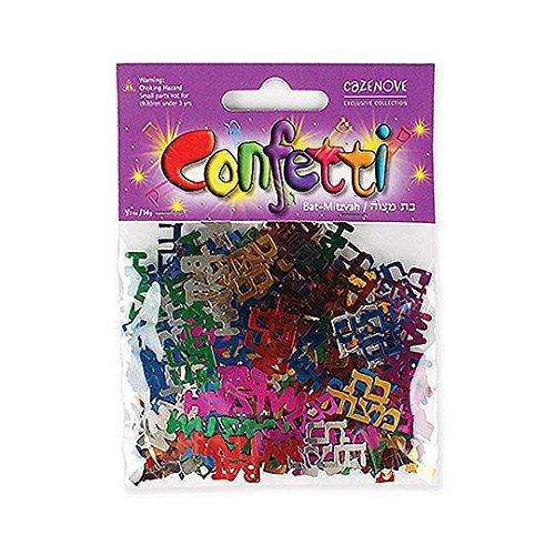 Bat Mitzvah Decorations - Multicolored Bat Mitzvah Confetti Decorations in Hebrew and English