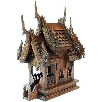 Design by UnseenThailand Thai Buddhism Handmade Teak Wood Spirit House (Teak Wood 2 Roof, H16