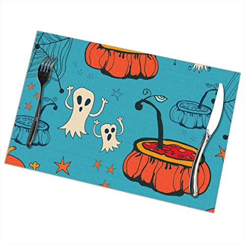 Peijiu-yi Halloween Placemats Set of 6,Heat-Resistant Placemats Stain Resistant Anti-Skid Washable Mats Placemats