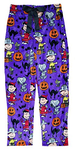 Richard Leeds International Women's Halloween Peanuts Snoopy Charlie Brown Super Minky Fleece Sleep Pants, Purple, Large / 12-14