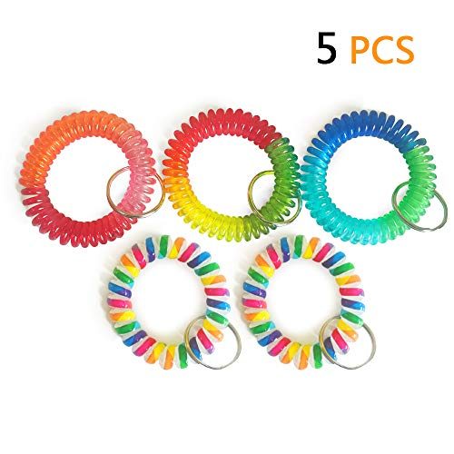 Wrist Coil Wrist Keychain Colorful Stretch Key Chain for Gym, Pool, ID Badge 5pcs]()